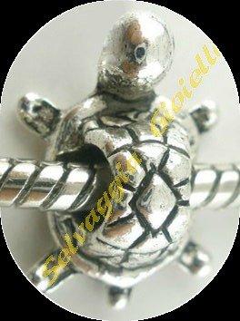 Confezione da 20 charms tartarughe in colore argento antico