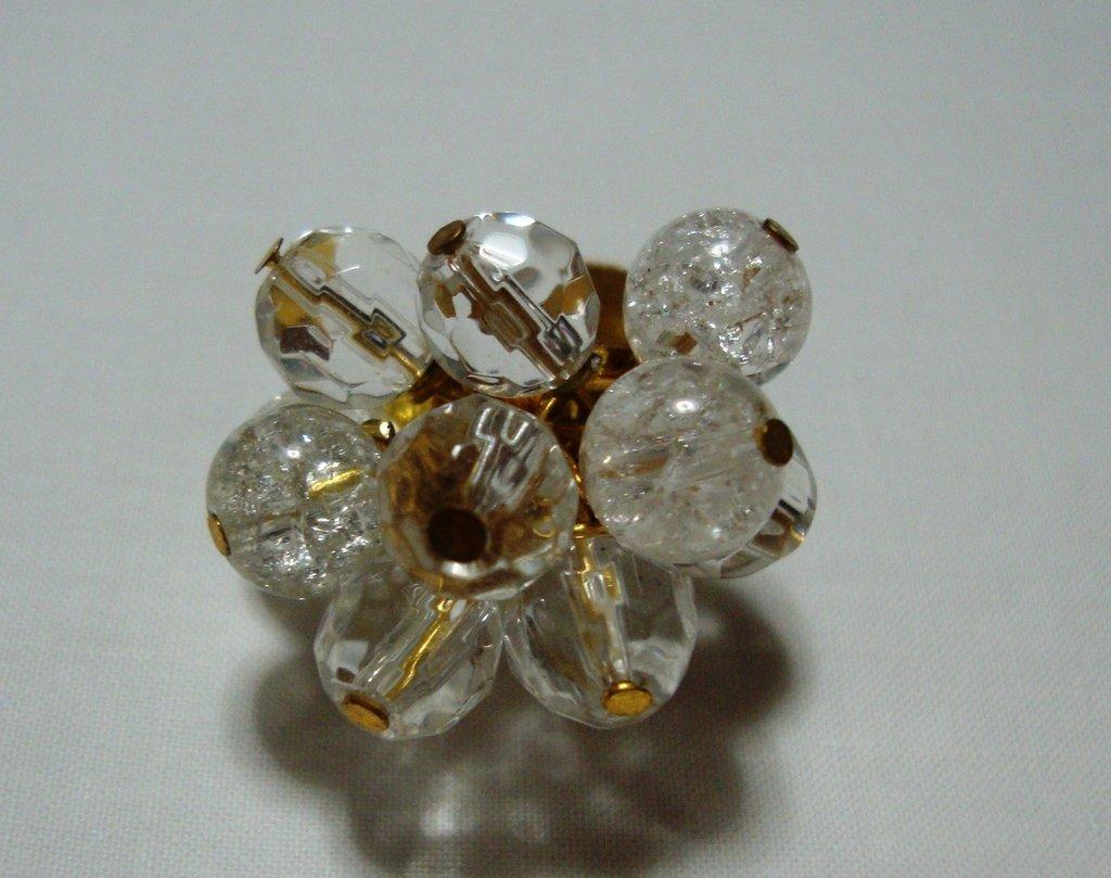 anello perle di vetro trasparenti!!