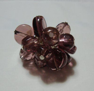anello perle vetro viola!!