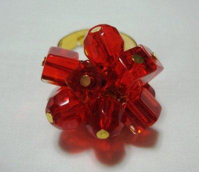 anello perle di vetro rosse!!