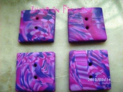 Bottoni quadrati sui toni del fucsia/rosa (set di 4)