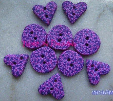 Bottoni - cuori e cerchi maculati sui toni del viola (set di 10)