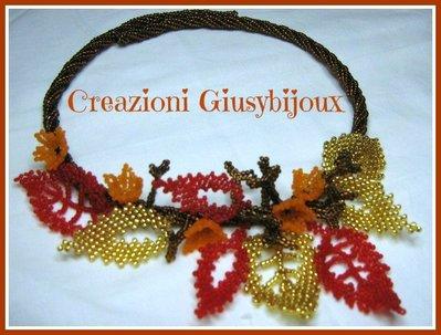 """Collana  """"Foglie d'autunno"""" con perline handmade"""