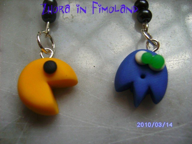 orecchini Pac Man di fimo (fantasma blu)