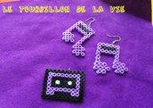 Parure Cassetta e Note Musicali Orecchini e Ciondolo Hama Beads