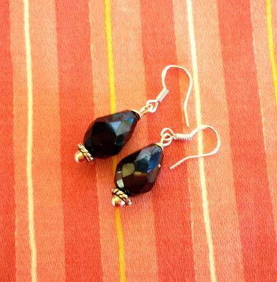 orecchini cristallo a goccia neri