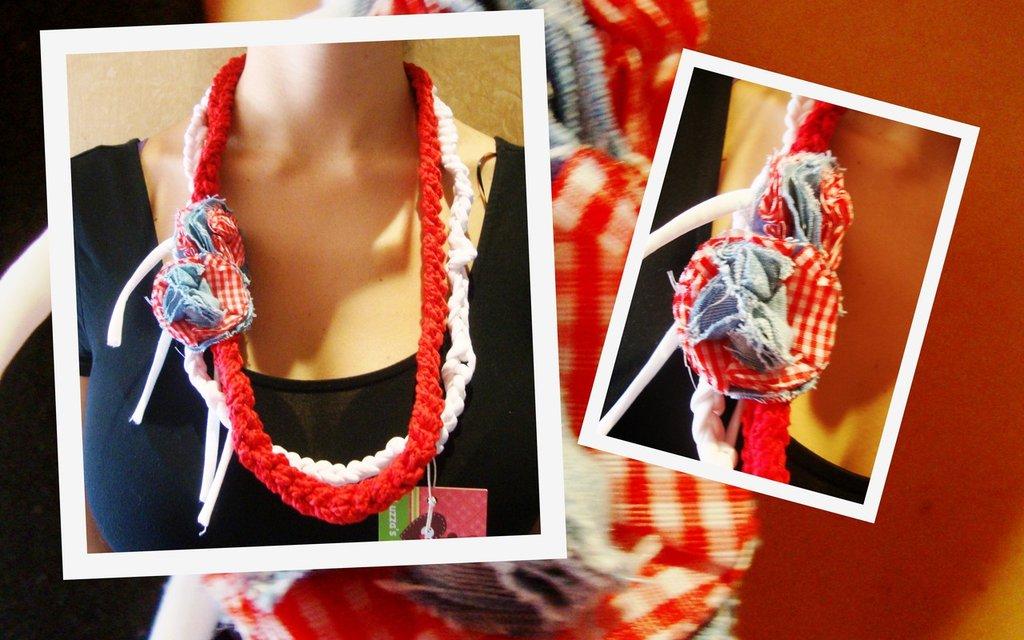 collana fettuccia rossa e bianca con fiori!!