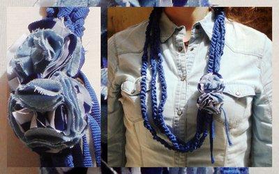collana fettuccia blu con fiori!!