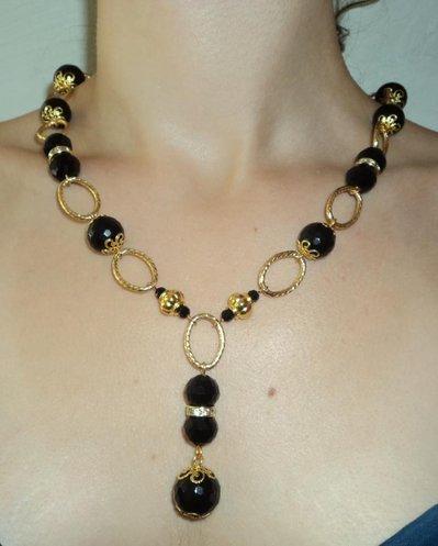 Collana Oro con Pietre nere e strass