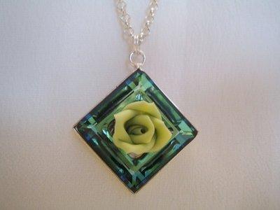 """""""Square Ring & Rose"""" - Pendente in cristallo Swarovski"""