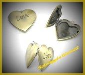 Pendente cuore apribile in colore oro antico