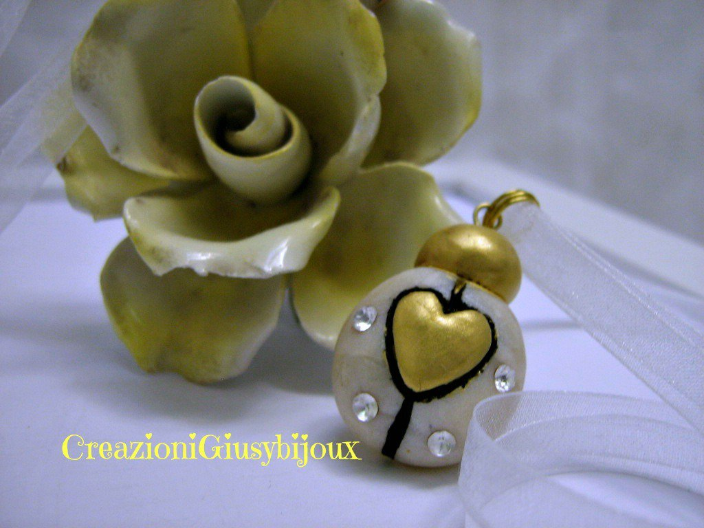 """Bomboniera """"cuore di coccinella""""  in fimo con strass handmade"""