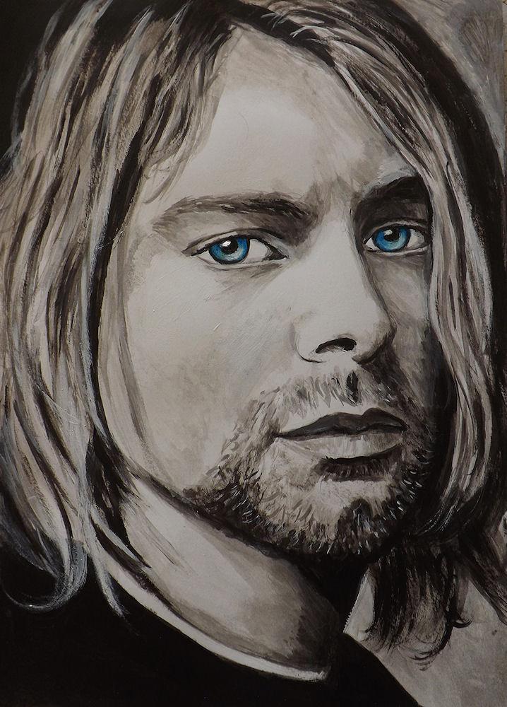 ritratto Kurt Cobain acrilico su cartoncino dipinto a mano