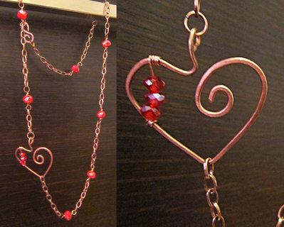 collana cuore con perline rosse