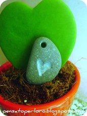 Genuine Pebble pendant -stone heart