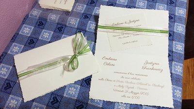 partecipazione matrimonio verde avorio