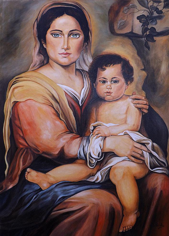 quadro capoletto madonna con bambino olio su tela