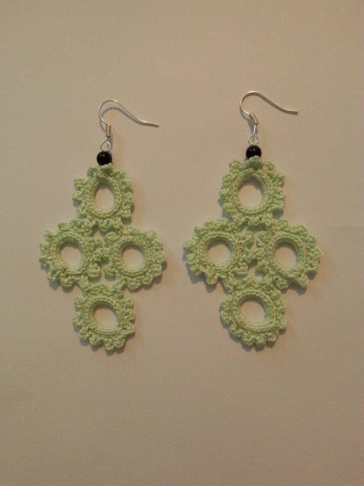 orecchini uncinetto croce verde acqua