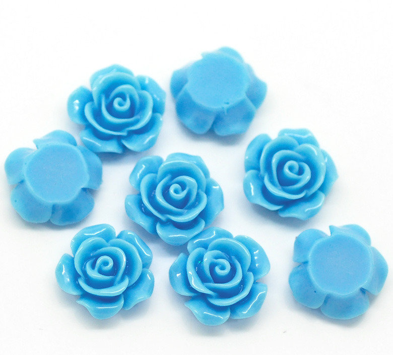 cabochon rose piatta color azzurro 14x6 mm