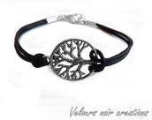 bracciale albero della vita in argento tibetano cordino nero