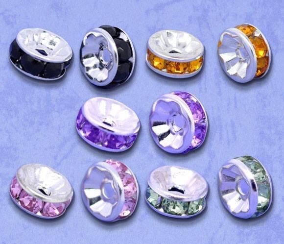 10 Perle Rondelle con Strass 8x4mm senza nickel