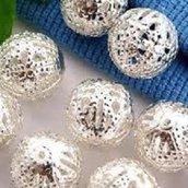 10 perle in filigrana 10 mm dia silver