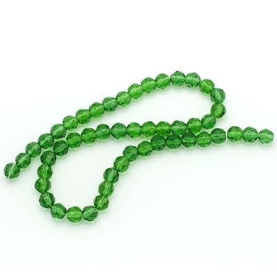 20 Perle in Vetro Cristallo Sfaccettate Verde 6x6mm