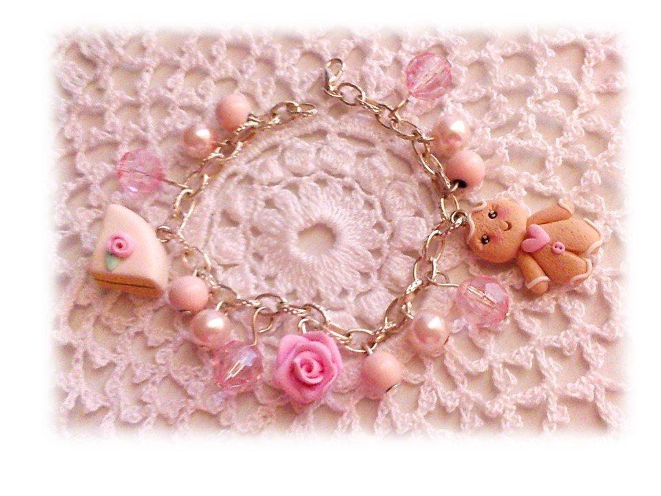 Bracciale pink ginger bread girl, fetta torta, rosa fimo