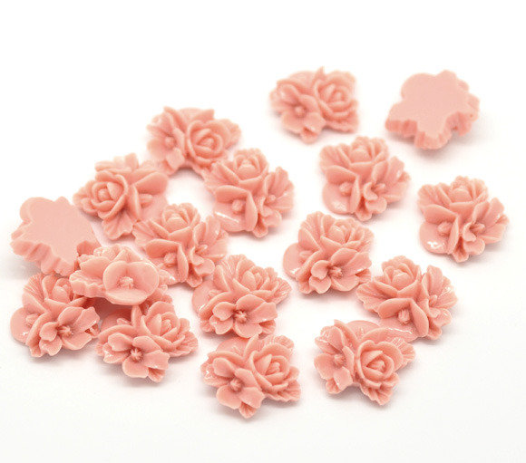 cabochon Decorazione Fiori in Resina color rosa16x16mm