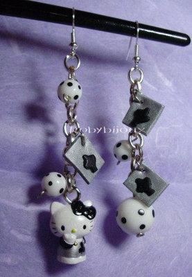 orecchini hello kitty nero - argento