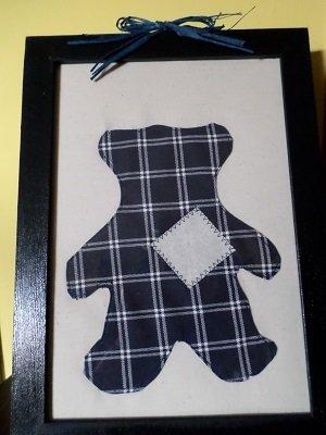 Quadro con orsetto stile patchwork.