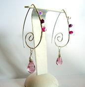 orecchini con quarzo rosa