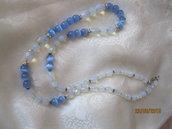 Collana di perline occhio di gatto colore azzuro e crystalli  sfaccettata  colore bliu