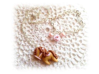 Collana cavallina pony e bracciale rosa fimo