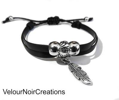 bracciale unisex creato a mano piuma argento tibetano cordino nero