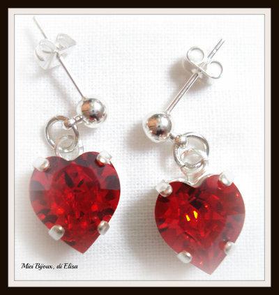 Orecchini cuore rosso swarovski