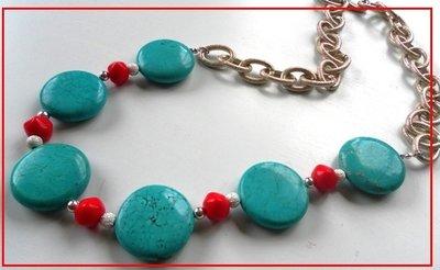 Collezione Natale 2013:collana con turchesi e pietre rosse