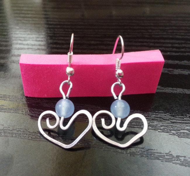 orecchini cuore perlina azzurra