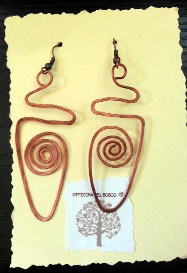 orecchini spirale in rame