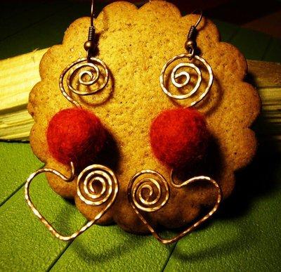 orecchini cuore feltro