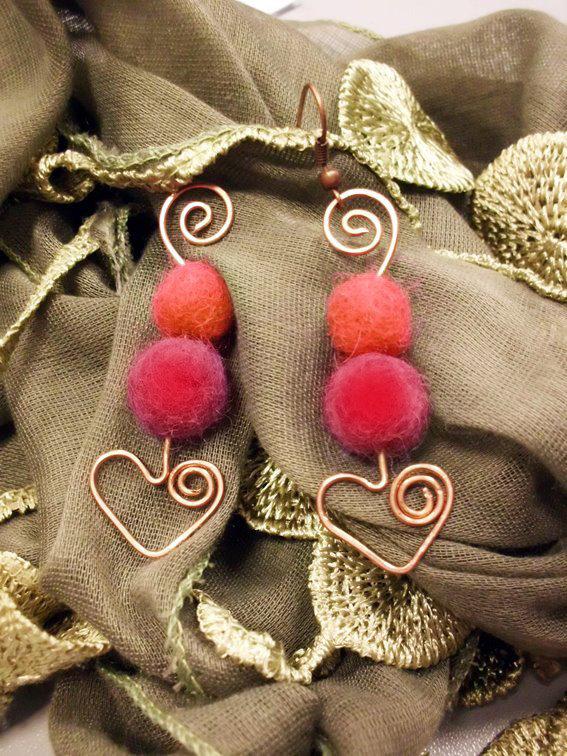 orecchini cuore perline feltro