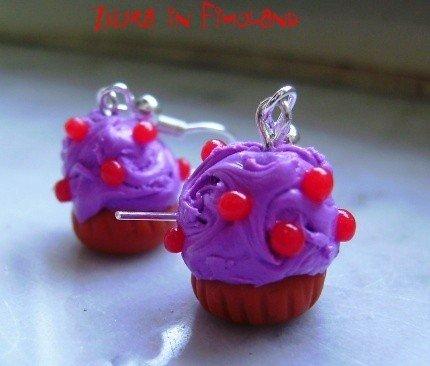 Orecchini cupcakes ai frutti di bosco (fimo)