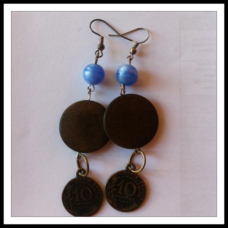 Coin  Dark Gold earrings