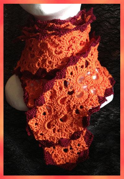 Sciarpa in cotone arancione e bordeaux