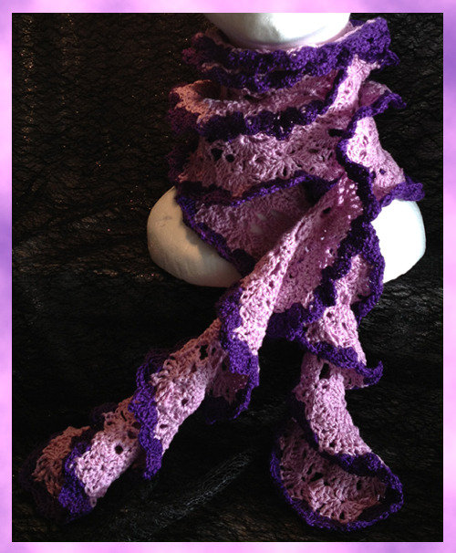 Sciarpa in cotone lilla e viola