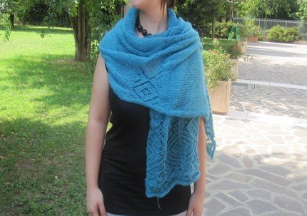 crochet aquamarine blue / turquoise shoulder wrap - scarf - shawl made from wool