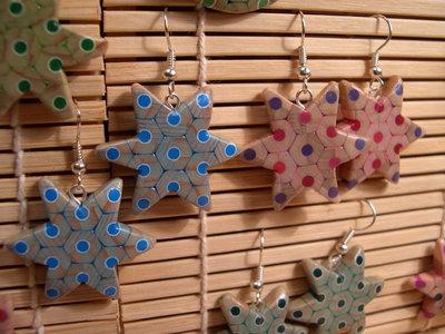 Orecchini pendenti fatti a mano a forma di stella