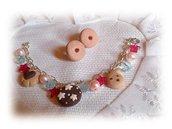 Bracciale e orecchini golosi (macine, gocciole, pan di stelle,) fimo