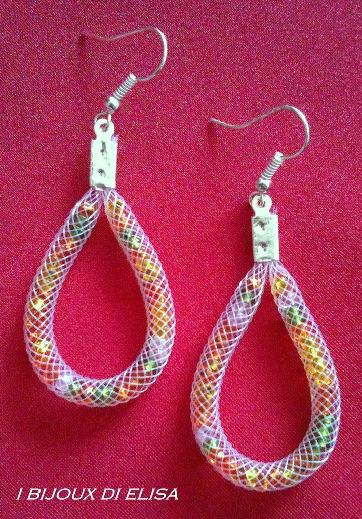 Orecchini tubo bianco e perline multicolor 2