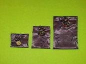 3 sacchetti di stoffa, pezzi unici